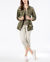 Inc International Concepts I.N.C. Petite Cotton Camouflage Print Utility Jacket Created For Macy's Olive Drab