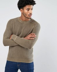 Mango Man Contrast Knit Jumper In Beige Beige Grey