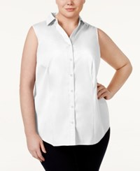 Charter Club Plus Size Sleeveless Shirt Only At Macy's Bright White