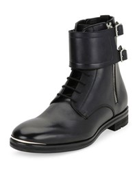 Alexander Mcqueen Leather Lace Up Monk Strap Boots Black