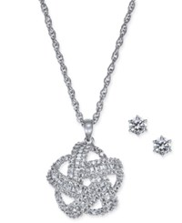 Charter Club Silver Tone 2 Pc. Set Crystal Baguette Knot Pendant Necklace And Crystal Stud Earrings