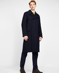 Aspesi Wool Blend Military Coat Tito Iii Blue