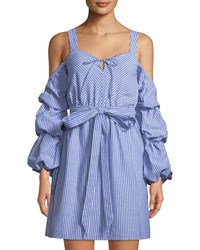 Alexia Admor Sweetheart Cold Shoulder Ruffle Sleeve Dress Blue