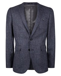 Jaeger Wool Pinhead Tweed Slim Jacket Blue