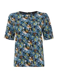 Therapy Ditsy Floral Print Blouse Blue