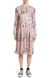 Shrimps Women's Heather Print Silk Dress Rosette Black