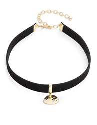 Design Lab Lord And Taylor Hammered Pendant Choker Necklace Black
