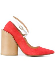 Jacquemus Chunky Heel Pumps Leather Pink Purple
