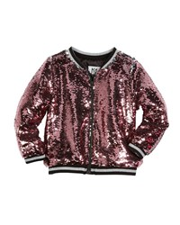 Milly Minis Moveable Sequin Bomber Jacket Size 8 16 Pink