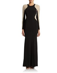 Xscape Evenings Long Sleeved Beaded Gown Black Nude Silver