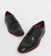 Base London Wide Fit Motif Brogues In Black Leather
