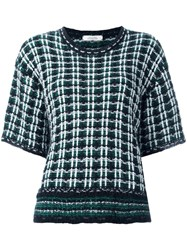 Dorothee Schumacher Checked Couture Knit T Shirt Green