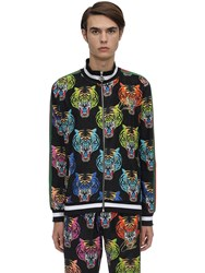 Minimal Tiger Face Zip Up Chenille Sweatshirt Black