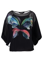 Wallis Placed Butterfly Blouse Black