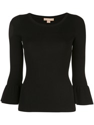 Michael Kors Collection Peplum Sleeve Fitted Sweater Black