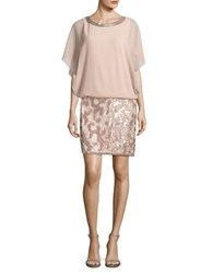 J Kara Sequined Chiffon Dress Blush