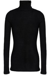 Duffy Ribbed Stretch Jersey Turtleneck Top Black