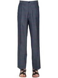 Etro Pleated Check Wool Pants Grey