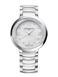 Baume And Mercier Promesse Diamond Mother Of Pearl And Stainless Steel Bracelet Watch Silver