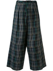 Y's Wide Leg Check Trousers Blue