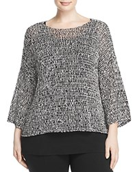 Eileen Fisher Plus Bateau Neck Boxy Sweater Black