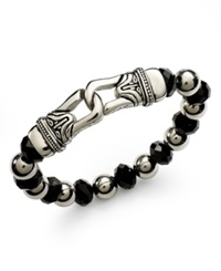 Macy's Men's Stainless Steel Bracelet Black Crystal Beaded Bracelet 10Mm