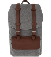 Brunello Cucinelli Felt And Leather Backpack Grey Brown