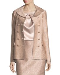 St. John Frosted Metallic Double Breasted Jacket Blush