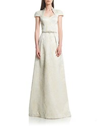 Theia Jacquard Belted Dress Cream