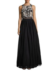 Betsy And Adam Embellished Ballgown Black Silver