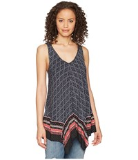 Tribal Handkerchief Printed Camisole Twilight Sleeveless Blue