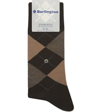 Burlington Edinburgh Wool Blend Socks Dark Brown