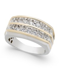 Macy's Men's Diamond Two Tone Two Row Ring 1 Ct. T.W. In 10K White Gold And Yellow Gold