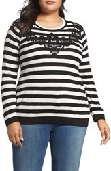 Vince Camuto Plus Size Women's Lace Trim Stripe Sweater Rich Black