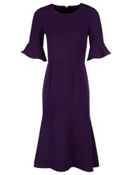 Yanny London Frill Sleeve High Low Ruffle Hem Dress Purple
