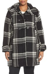 Steve Madden Plus Size Women's Steven Madden Plaid Hooded Toggle Front Coat Black White