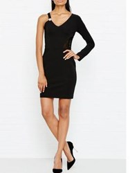 Versus By Versace One Sleeved Mesh Side Dress Black