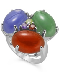 Macy's Sterling Silver Multi Stone And Jade Cabochon Ring 19 1 4 Ct. T.W.