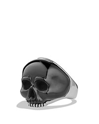 David Yurman Waves Carved Skull Ring With Black Onyx Black Silver