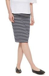 Topshop Women's Stripe Maternity Tube Skirt Navy Blue Multi