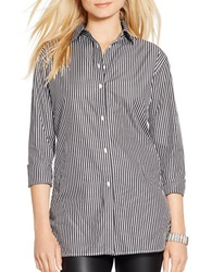 Lauren Ralph Lauren Petite Striped Button Front Tunic Black
