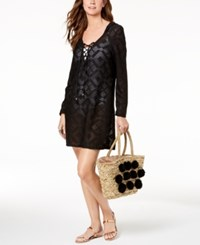 Dotti Lace Up Hoodie Dress Cover Up Women's Swimsuit Black