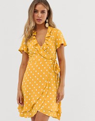 Superdry Spotty Wrap Dress With Frill Yellow