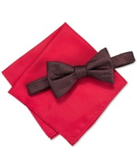 Alfani Men's Venus Neat Bow Tie And Solid Pocket Square Set Only At Macy's Red