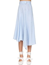 J.W.Anderson Asymmetric Striped Poplin Skirt Light Blue