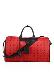 Mcm Weekender Canvas And Leather Duffle Bag Ruby Red