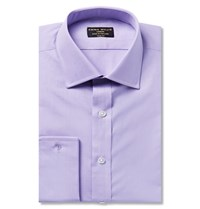 Emma Willis Lilac Slim Fit Double Cuff Cotton Shirt Purple