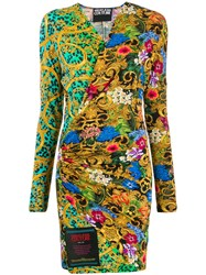 Versace Jeans Couture Mixed Print Wrap Dress 60