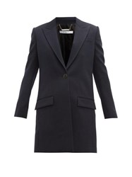 Givenchy Single Breasted Wool Coat Navy