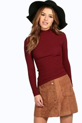 Boohoo Tanya Long Sleeve Rib Turtle Neck Top Wine
